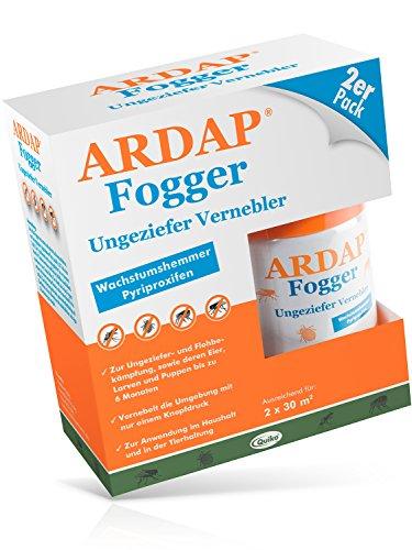 flohfogger ARDAP Fogger – Zuverlässiger Vernebler zur Ungeziefer- und Flohbekämpfung für die Anwendung im Haushalt sowie in der Tierhaltung - wirksamer Schutz für bis zu 6 Monate – 2 x 100 ml