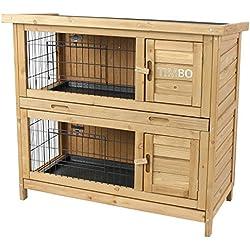 Clapier EMMA à 2 étages - 92x45x81 cm - Cage pour les petits animaux, pour l'utilisation en plein air. La cage résistante aux intempéries et à deux étages, pour 2 lapins - Cage à lapin TIMBO
