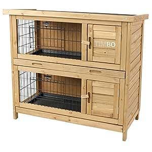 kaninchenstall hasenstall emma auf 2 etagen 92x45x81 cm kleintier stall f r drau en der. Black Bedroom Furniture Sets. Home Design Ideas