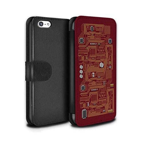 Stuff4 Coque/Etui/Housse Cuir PU Case/Cover pour Apple iPhone 5C / Vert Design / Circuit Board Collection Rouge