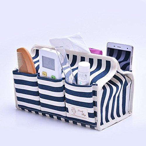 Fieans Hause Jute Gewebe-Boxen Tissue Box Tissue Karton Pumpen sechs Taschen Desktop-Aufbewahrungsbox Beutel Tissue Box Kosmetiktücherboxen Kosmetiktücher Box Auto Kosmetiktücher-Box Kleenexbox-Blau (Box Cover Strand Tissue)