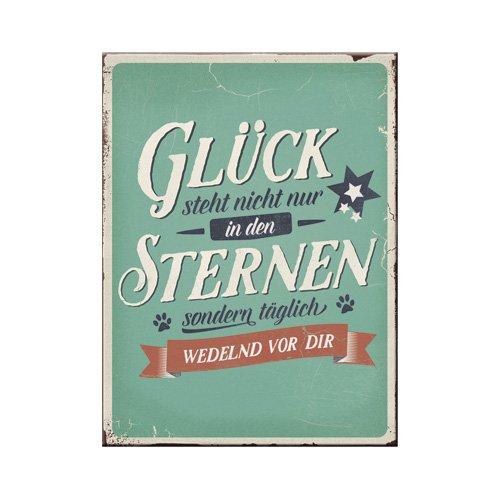 Nostalgic-Art 14362 PfotenSchild - Glück Sternen, Magnet 8x6 cm (Hund Magnet Kühlschrank)
