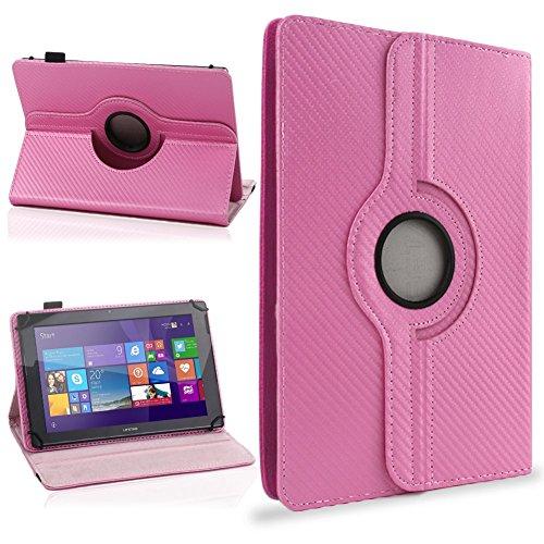 NAUC Schutzhülle für Ihr CSL Panther Tab 10 Hülle Tasche Carbon Cover Tablet Case, Farben:Pink