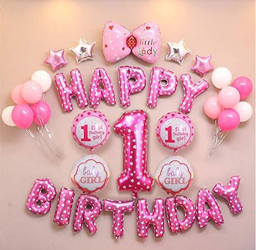 E.For.U® 1. Geburtstag Dekorationen für Jungen und Mädchen,Deko 1 Geburtstag, erst Geburtstag Deko Jungen Mädchen (rosa)