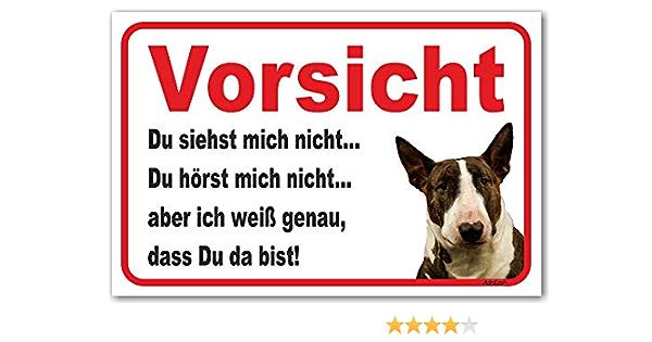 15x20cm // Dunkelbraun//wei/ß Vorsicht Bullterrier Hier wache ich - AdriLeo Schild Achtung Hund Wachhund