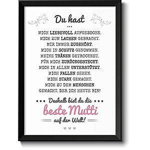 Beste Mama Bild mit Rahmen Geschenke Geschenkidee zum Muttertag Geburtstag Muttertagsgeschenk für Frauen Mamas Mutti Mutter Mum Eltern Danksagung