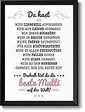 Beste Mama Bild im schwarzem Holz-Rahmen Geschenkidee Weihnachtsgeschenke Geschenke für Frauen Mama Weihnachten