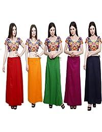 Pistaa combo of 5 Women's Cotton Inskirt Saree petticoats