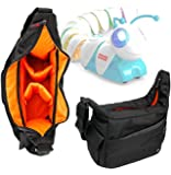 DURAGADGET Premium Quality Shoulder 'Sling' Bag in Black & Orange Compatible with the NEW Fisher Price Code-a-Pillar Kids Toy - With Adjustable Padded Interior