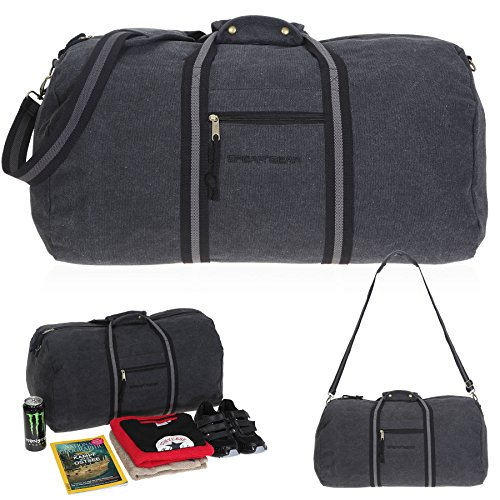 SPEAR Canvas Reisetasche DUFFLE BAG 60 cm Sporttasche Canvastasche (Marine Blue 12243) Full Black 12318
