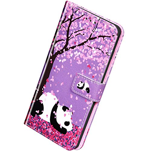 Herbests Kompatibel mit Samsung Galaxy A60 / M40 Leder Hülle Schutzhülle Handyhüllen Bunt Motiv Muster Flip Brieftasche Wallet Tasche Klapphülle Etui Case Magnetverschluss,Kirschblüten Panda