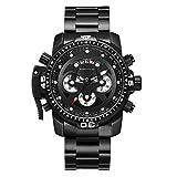 Hyssb Quartz Watch Steel Belt Herrenuhr Fashion Gürtel True Three Eyes Und Six Needles Schwarz Armbanduhren