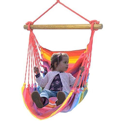 Kinderhängesessel Hängestuhl Hängeschaukel Hängesitz für Prinzessinen und Prinzen kunterbunt mit zwei Kissen aus 100% Baumwolle