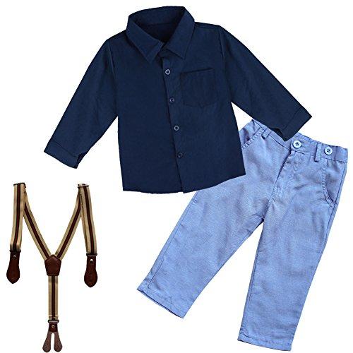 YiZYiF Jungen Baby Bekleidungsset Formal Smoking Anzug Langärmelige Shirt + Trägerhose Outfits Gr. 86-110 (92 (Herstellergröße:100), Blau)