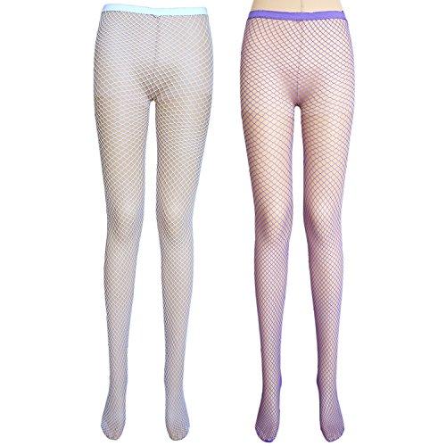 Net Netzstrumpfhose (JHosiery Damen Netzstrumpfhose (Medium net, 2 Paar Weiß+Violett))