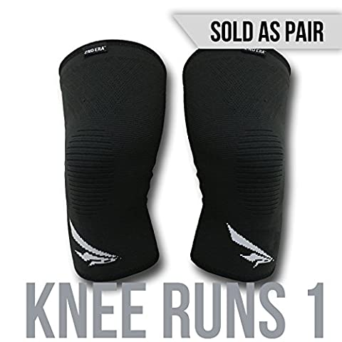 2nd Era Knee Runs 1 - Best Compression Knee Support Sleeves Brace Wraps - For Professional Elite Athletes: Running, Jogging, Bodybuilding, and Weight Lifting - (Sold as Pair) (Black,