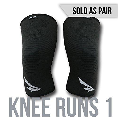2nd Era Knie läuft 1–Beste Compression Kniebandage Sleeves Brace Packungen–Für Professionelle Elite Athleten: Running, Joggen, Bodybuilding, und Gewicht heben–(Verkauft als Paar), schwarz