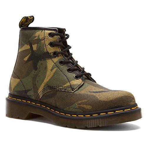 Dr. Martens - Cerren Camo Canvas Green, 16149310, 6-Loch Leder Stiefel Schuhe mit gelber Naht Camo Canvas Green