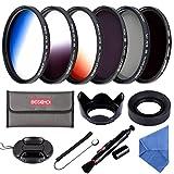 Beschoi 58 mm Kit de Filtre Gradué Orange/Bleu / Gris + Filtres Photo CPL ND4 ND8 avec des Autres Accessoires pour l'Objectif de Caméra