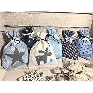 Adventskalender Säckchen 24 Stoffsäckchen Beutel zum befüllen blau weiss grau Handmade by Sinchns Bastelzauber