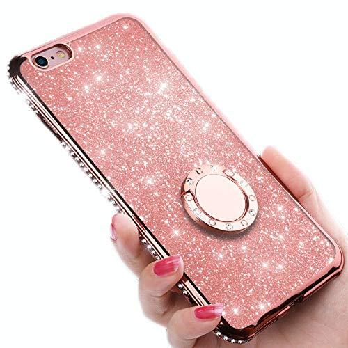 WQXD iPhone 8 Hülle,iPhone 7 Schutzhülle Glitzer Handyhülle Kristall Bling Strass Ultradünn TPU Silikon Hülle Case Tasche Transparent Handytasche mit Ring Ständer Halter,Pink,Iphone5 (Bling Fällen Iphone5)