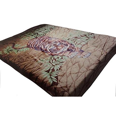 Lujo Animales y flores abstracto impresiones Super suave 200cm x 240cm manta de piel sintética manta de visón tigre de Bengala