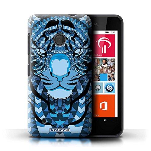 Kobalt® Imprimé Etui / Coque pour Nokia Lumia 530 / Loup-Sépia conception / Série Motif Animaux Aztec Tigre-Bleu