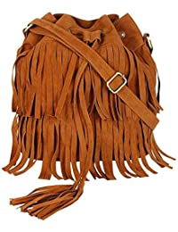 Hanso Bags Girls Pack Of 2 PU Tan Fringe Sling & Black Sling Bag (CMB2_LBHBPU80BLK_LBHBPU74T)