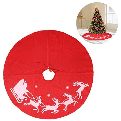 """Falda de árbol de Navidad, edealing Decoraciones de la cubierta de la falda del árbol de Navidad para la decoración de fiesta Party Supply Red 39 """"- Copo de nieve de reno clásico"""