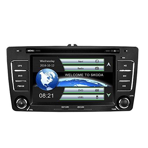 Yingly 7 Zoll 2 Din Autoradio für Skoda Octavia 2009-2013 mit Wince System DVD Player GPS Navigation Radio Bluetooth unterstützt Park Kamera Lenkrad Bedienung 1080P Video 8GB Kartenmaterial Digital-message-system