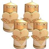 Weihnachten Kerzen Set 4 Stück Stumpenkerzen Adventskerzen 100x50 Dekokerzen Kerzen für Adventskranz Tischkerzen Präsent Herz Engelflügel Gold IW09