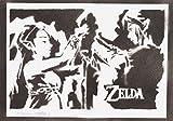Póster Zelda Y Link Grafiti Hecho A Mano - Handmade Street Art -...