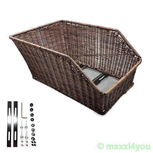 maxxi4you Gepäckträgerkorb Weidenkorb-Optik Hinten Fahrradkorb Kunststoff Braun