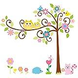 Wandtattoo Wandaufkleber Wandsticker Kinderzimmer mit großem Baum, Vögeln, Eichhörnchen und Igel. Wald Wandbild für Mädchen oder Baby Zimmer. Wanddeko Wandtattoobaum.
