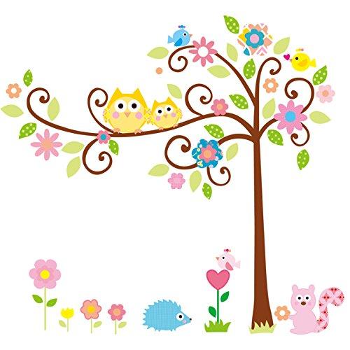 Wandbilder Mädchen Für (Wandtattoo Kinderzimmer Waldtiere Eulen und Baum Wandaufkleber Zweige und Blätter für Kinder Junge / Mädchen Wandsticker Kinderzimmer Cartoon Wandbild Baby Zimmer Wanddeko Wandtatoobaum)