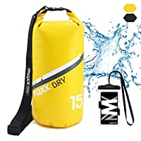 MaxxDry Marine Dry Bag Waterproof, Internal-Zippered Pocket, Floating Roll Top Sack Keep Gear Dry, for Water Sports, Kayaking, Boating, Rafting, Snorkeling, with Waterproof Phone Pouch (Yellow, 15L)