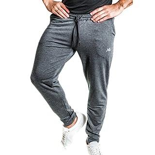 Natural Athlet Fitness Jogginghose Meliert - Herren Männer Trainingshose lang für Fitness Workout - Slim Fit Sporthose in grau Größe M