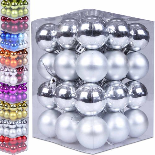 Jago 36 palline per albero di Natale colore e grandezza a scelta di plastica opache e lucide 5 cm colore argento