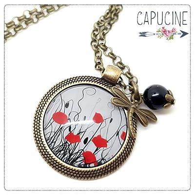 Sautoir Coquelicots bronze et cabochon verre - Long collier Coquelicots - Coquelicots - idée cadeau de noël, cadeau de saint valentin, cadeau d'anniversaire, cadeau fête des mères