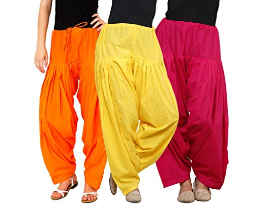 Luvcare 100% Pure Cotton Patiala Salwar For Womens(Orange, Yellow And Pink)