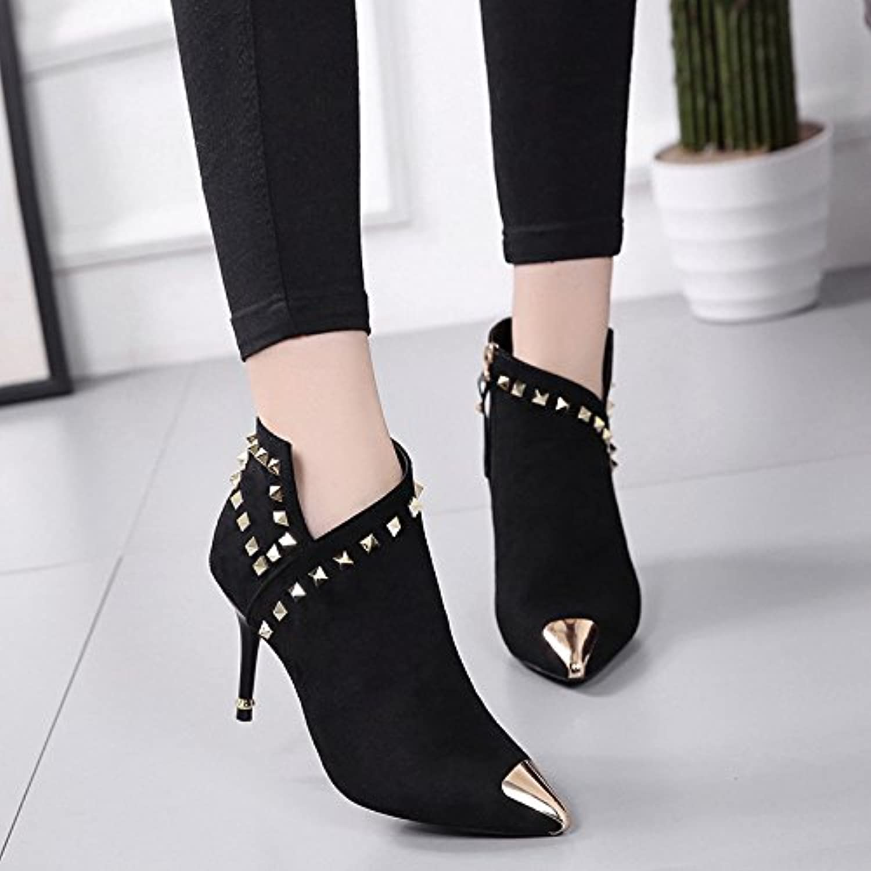 La punta de metal del high-Heel Shoes _ remache negro botas cortas mujeres caliente con espeso, negro con punta...