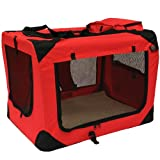 MOOL Lightweight Fabric Pet Carrier Crate with Fleece Mat and Food Bag - Extra Large (81 x 58 x 56 cm), Red