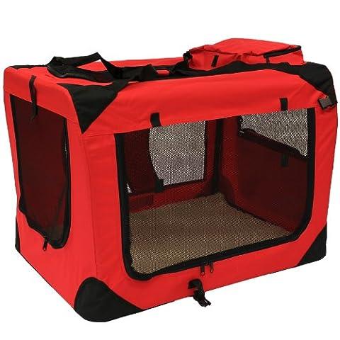 Mool Niche de transport en tissu ultraléger avec matelas en polaire et sac à nourriture pour animaux domestiques Rouge Taille XL 81 x 58 x 56 cm