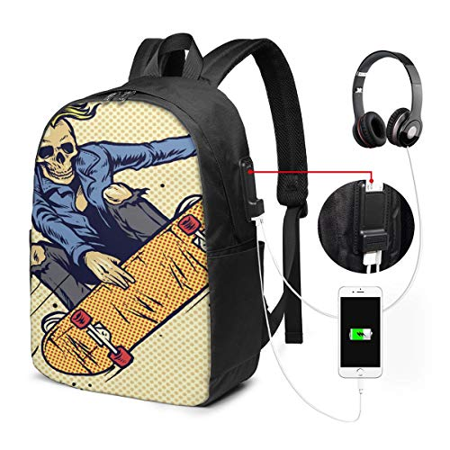 Travel Laptop Backpack Style Skull Play Skateboarding for Business School W/USB 17In