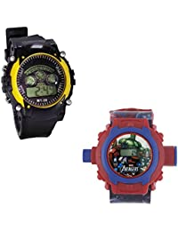Shanti Enterprises Combo Avengers 24 Images Projector Watch And Sports Watch Multi Color Dial For Kids - B0756ZS9CR