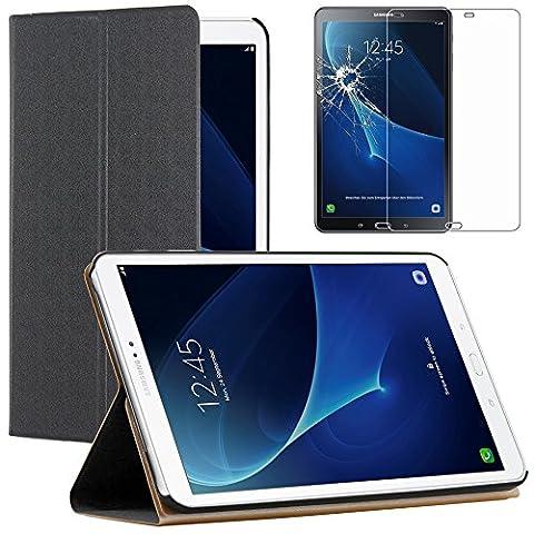 ebestStar - pour Samsung Galaxy Tab A 2016 10.1 T580 T585 (A6) - Etui Smartcase Coque Housse Slim Smart Cover Support haute Solidité + Film Protection d'écran en Verre Trempé, Couleur Noir [Dimensions PRECISES de votre appareil : 254.2 x 155.3 x 8.2 mm, écran 10.1'']