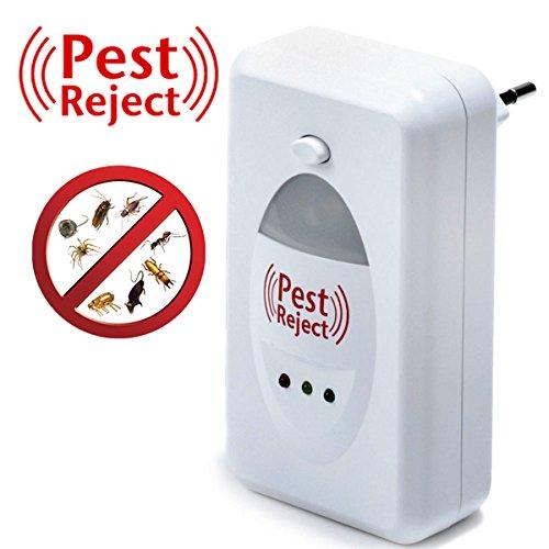 El original Pest Reject: el único con la doble tecnología electromagnética y ultrasonidos. Repelente para todo tipo de insectos y roedores.Repelente electrónico electromagnético con ultrasonidos. Repele sin necesidad de usar productos químicos, es inodoro, no hace ruido y no tiene costes de mantenimiento. Atrapa ratones e insectos. Producto para hormigas, cucarachas e insectos. Mantiene alejados los ratones, moscas, mosquitos y ratas. Insecticida eléctrico. 2 unidades