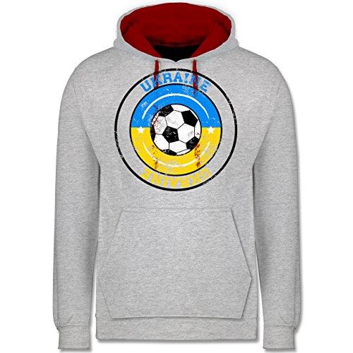 Fußball - Ukraine Kreis & Fußball Vintage - Kontrast Hoodie Grau Meliert/Rot