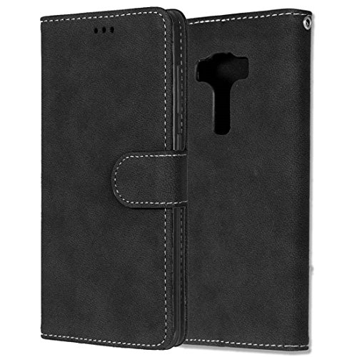 Asus Zenfone 3 Deluxe ZS570KL Hülle, Chreey Matt Leder Tasche Retro Handyhülle Magnet Flip Case mit Kartenfach Geldbörse Schutzhülle Etui [Schwarz]