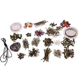 Superbe kit haut de démarrage haut de gamme pour la création de bijoux - perles, apprêts, cordon, ressorts, accessoires en bronze plaqué par Curtzy TM